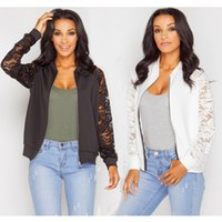 Wholesale Ladies Lace Long Sleeved Tops - New Women Personality Lace Long-Sleeved Jacket Fashion Crew Neck Casual Jacket Stitching Lady Outerwear Tops Coats