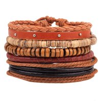 Wholesale Cheap Bead Bracelets For Men - Mens Red Multilayer Braided Leather Bracelets for Women Men Cheap Price Handmade Oblate Beads Bracelets Jewelry LB012