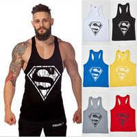 Wholesale Superman Mens - 2016 New GYM Euramerica Sports Tank Tops For Men Classic Superman Bodybuilding Mens Muscle Tanks Tops Fitness Stringer Cotton Vest Shirts