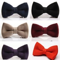 Wholesale knit bowties resale online - 2016 HOT Double Knitted Bowtie solid Color bowknot Adjustable Bowties for Father s Day tie Christmas Gift Free TNT Fedex UPS