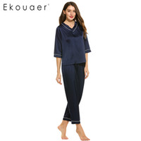 Wholesale xxl sexy women pajamas - Wholesale- Ekouaer Satin Sleepwear Women Pajamas Sets V-Neck Spring Pullover Sleepwear with Pants Female Pajama Size S to XXL Loungewear