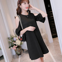 Wholesale Korean Bandage Dress - New Summer Women Dress Bandage Party Fashion Sexy Plus Size Cute O-Neck A-Line Spring Brief Korean Black Red Dresses