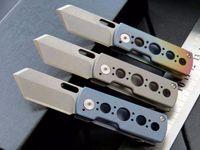 Wholesale Rocket Knife - high quality mini knife rocket S35VN 100% 61HRC ball bearing Titanium handle pocket knife keychain folding gift knife for man 1pcs