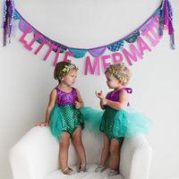 Wholesale Tutu Swimsuits - INs Princess Baby Girls infant Little Mermaid Sequins Bikinis Swimwear Costume Summer Beach Children Swimsuit Children's Swimwear
