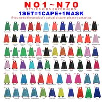 Double Sides 70 Designs 70 * 70cm Cartoon Kids Superhero Capes para crianças Capes com máscara Christmas Halloween Cosplay Capes Prop Party Costumes