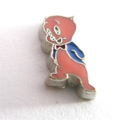 Wholesale Live Pigs Wholesalers - New design hot sale floating locket charms 10pcs animal pig Cartoon characters FC1460 for Living memory floating locket
