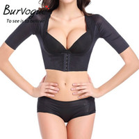 All'ingrosso-Burvogue 2016 Shaper di un pezzo Adatti a donne Shaper caldo Shaper Push Up Crop manica corta Top dimagrante braccio di addestramento shaperwear
