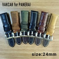 Wholesale Strap For Panerai - Luxury watch 24mm high quality genuine leather strap fit for PANERAI PAM with silver stainless steel buckle