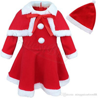Wholesale Wholesalers Mascot Fancy Dress - Baby Girl Kids Christmas Costome Children Santa Claus Mascot Costume Party Fancy Dress Xmas Costume Shawl Hat Outfits