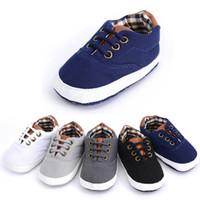 bebek dantel ayakkabıları toptan satış-Yeni Bebek Kanvas Ayakkabılar Sonbahar Dantel-up Bebek İlk Walker Bebek Yürüyor bebek erkek Ayakkabı 5 Renkler 0-18 Ay