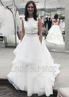 Wholesale Black Mikado Dress - 2016 New Two Pieces Mikado Crop Wedding Dresses Bateau Back with Buttons A Line Sweep Train Boho Beach Bridal Gowns SWG687 Cheap Customized