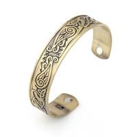 acier inoxydable magnétique achat en gros de-Lemegeton Phoenix Totem Magnétique Amour Bracelets Ouvert Manchette En Acier Inoxydable Chinois Motif Gravé Design Bracelet Homme Sain Bracelet