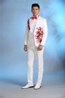 homens branco slim fit tuxedo venda por atacado-Atacado- Mais recente Casaco Calça Designs Applique Branco Traje Dos Homens Terno Slim Fit 2 Peça Beads Mostrar Blazer Performaance Stage Tuxedo Masculino