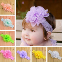 Wholesale infant flowers - 19 colors Baby Girls Lace Headbands Infant big Chiffon Flower hair band headwear Children Hair Accessories Kids Elastic Headbands KHA347