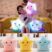 Wholesale Cushion Stuffing Wholesale - LED Five-pointed Star Pillows Cushion Star Luminous Pillow Plush Stuffed Pillow Toys Decorative Pillow Valentine's Day Present WX-P27