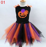 Wholesale Ball Onesies - 4 Colors Baby Girls Halloween Appliqued Ruffle Tutu Dresses Children Sleeveless Vest hand-made dress Kids Onesies Party dresses Clothes