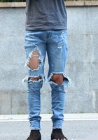 Wholesale Cool Pants For Men - 2016 Fashion Men's KANYE WEST Ripped jeans Good Quality Destroy Knee hole Cool Slim Fit Jeans Urban Jeans Pants For Men