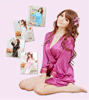 Wholesale Lingerie Satin Night - Free Shipping Sexy Kimono Women Lingerie Slik Solid Robe Lady Satin Night Gown Pajamas Sleepwear
