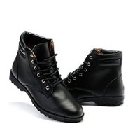 Wholesale Men Rubber Boots Wholesale - Wholesale- Hot Sale New Spring Autumn Men Fashion Boots Punk Lace Up Ankle Boots Casual Lace Up High Top Shoes Solid Martin Boots For Male
