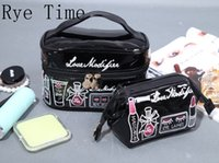 Wholesale Women S Clutches - 2017 New Soft Pu Embroidery Women 'S Cosmetic Bags Storage Bag Day Clutch Twinset Washing Case Fashion Bags In Bag 2 Pc Set