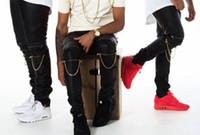 Wholesale Leather Joggers Pants - 2016 hot Fashion HIP HOP Mens faux leather pants zipper design sweatpants man Skinny Motorcycle Chain joggers casual black pu trouser
