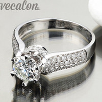 Wholesale female fingers - Vecalon Luxury ring wedding Band ring for women 1.5ct Cz diamond ring 925 Sterling Silver Female Engagement Finger ring