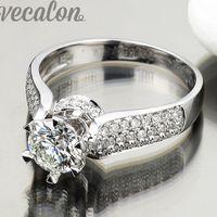 Wholesale female ring finger - Vecalon Luxury ring wedding Band ring for women 1.5ct Cz diamond ring 925 Sterling Silver Female Engagement Finger ring