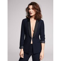 Wholesale Ladies Formal Tuxedos - Women Pant Suits Design ladies business trouser suits female formal work wear 2 piece black groom tuxedos custom made