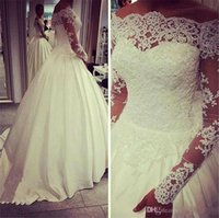Wholesale Long Train Modern Wedding Dresses - 2016 Modern Wedding Dresses A Line Off Shoulder Long Sleeves Lace Appliques Crystal Beaded Court Train Plus Size Church Formal Bridal Gowns