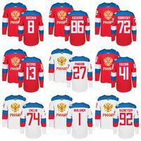 Wholesale Russia Hockey - Ice Hockey Russia Jerseys World Cup WCH 72 Artemi Panarin Russian Jersey 8 Alex Ovechkin 13 Pavel Datsyuk 86 Nikita Kucherov 71 Malkin
