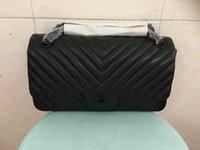 Wholesale V Bagging - 2016 lady's genuine lambskin leather flap bag,chevron,V design,25cm 30cm,high quality lambskin,good price
