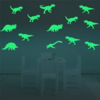 Wholesale Dinosaur Wall Decor For Kids - Wall stickers kids fashion Creative DIY Carved bedroom Luminous dinosaur Removable Decorating art Sticker Decor 2017 3d stickers wholesale