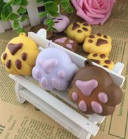 Wholesale Squishy Buns Mobile Charm - Wholesale-new arrival squishy toys bear paw squishies buns mobile cell phone bags strap Charm squishies gift wholesales 20pcs lot