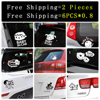 Wholesale Baby Girl Stickers Free Shipping - 2PCS Free shipping Cartoon Car Stickers boy girl animal angel Reflective Vinyl Styling Baby In Car Warming Car Sticker Baby on Board