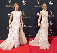 Wholesale Emmys Dresses - Elegant Felicity Huffman Champagne Tulle Lace Applique Emmys Celebrity Dresses 2016 Zuhair Murad Evening Gowns with Train Mermaid Prom Dress