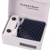 Wholesale necktie custom resale online - 2018 hot Ikepeibao Patterns Mans Polyester Tie Sets Dots Necktie Custom Ties Hanky Cufflinks Tie Set Perfect Quality