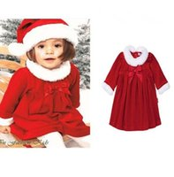 Wholesale Dress Hat Girls Clothing - 2016 Girls Baby Christmas Clothing Sets Long Sleeve Bow Dress + Hat Set Xmas Jumpers Toddler Outfits Santa Autumn Winter Infant Clothes