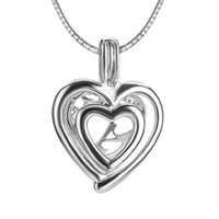 Wholesale Cage Double - 3pcs double heart shape sterling silver cage pendant 16*9*22mm Free Shipping Fashion and High Qualit