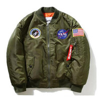 Wholesale Army Style Jackets - New Men Jackt NASA Air Force Pilot Luxury Brand Windproof Bomber Jacket US Style Army Waterproof Men Baseball Thicken Coat