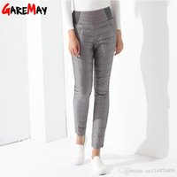 Wholesale Casual Trousers Pants - Winter Casual Down Pants Warm Trousers High Waist Elastic Slim Large Size Thick Pantalon Cargo Femme White Pencil Pants GAREMAY
