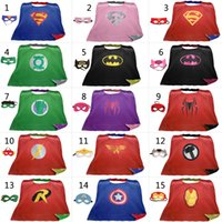 Wholesale Superhero Fabric Wholesale - L90*70cm Teen & Adult Superhero capes cape+mask Double side Satin fabric Spiderman Ironman capes Halloween Cosplay gifts