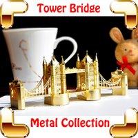 Wholesale Tower Bridge Model - New Year Gift London Tower Bridge 3D Metal Building Toy Miniature Model Scale Decoration DIY Mini Bridge Space Toys Simulation