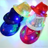 Wholesale Led Cowboy Hats - Kids Led Hats Colorful Cowboy Jazz Sequins Hats Cap Flashing Children Adult Unisex Party Festival Cosplay Costume Hats Gifts 6 ColorsHH-C35