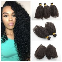 Wholesale new hair perm resale online - Cheap new coming brazilian human hair afro kinky curly fast shipping c hair weft No acid G EASY hair products