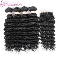 Wholesale Deep Wave Human Hair 4pcs - Cheap Brazilian Deep Wave Virgin Hair With Closure 4pcs Brazilian Deep Wave Hair Bundles With Closure 4pcs lot Human Hair Weave With Closure