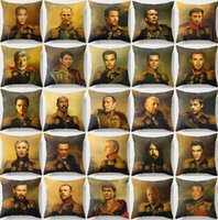 Wholesale Robert Cover - 36 Styles Celebrities Replaceface Army Military Generals Cushion Covers Robert Downey Jr Leonardo Dicaprio Pillow Cover Linen Pillow Case