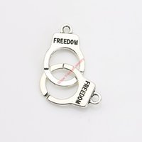 Wholesale Freedom Handcuff - 10pcs Tibetan Silver Plated Freedom Handcuffs Charms Pendants for Bracelet Necklace Jewelry Making DIY Handmade Craft 46x30mm