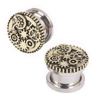 Wholesale Designed Body Jewelry - Screw Fit Steampunk Wheel Design Flesh Tunnel Plug Jewelry Ear Gauge Piercing body jewelry ear plug Tunnel