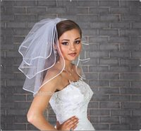 Wholesale Satin Flower Accessories - 2016 Short Wedding Veils Three Layer With Ribbon Edge With Free Comb White Bridal Veils Wedding Accessories