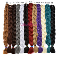Wholesale ombre xpression braiding hair online - Xpression Synthetic Braiding Hair Cheap inch grams Single Color Premium Ultra Braid Kanekalon Jumbo Braid Hair Extensions